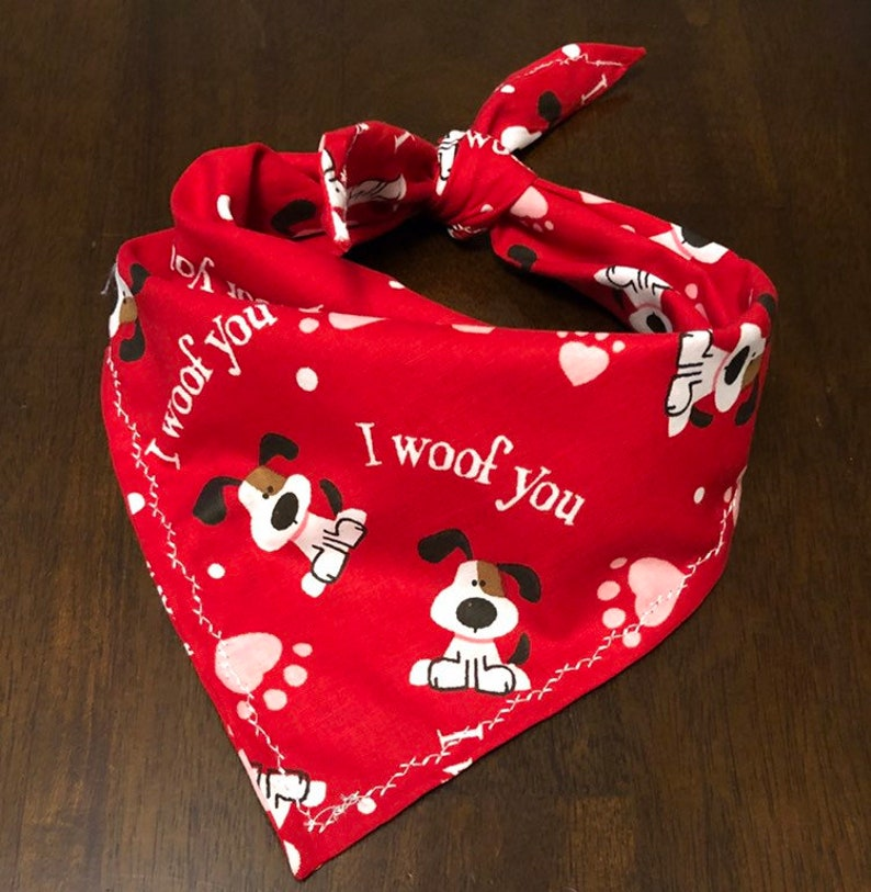 Heart Paws I Woof You FREE SHIPPING Dog Bandana Valentine/'s Day Cute Puppies