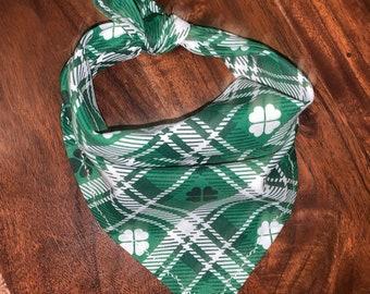 St. Patrick's - Clover - Shamrock - Plaid - Irish - Dog Bandana - FREE SHIPPING