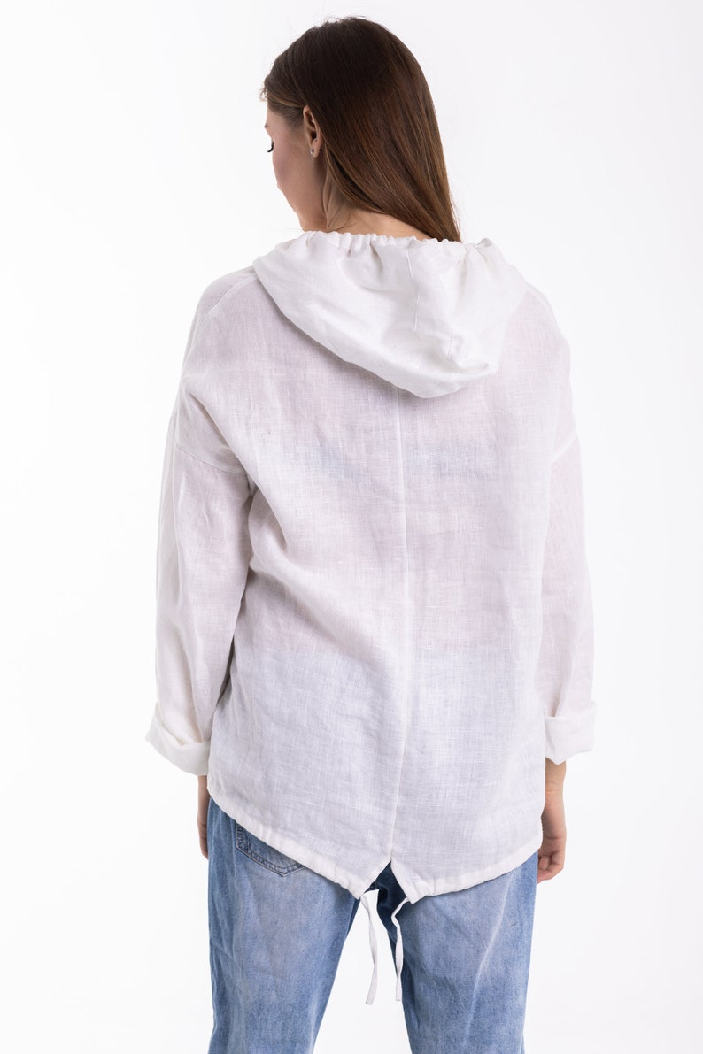 THEA Natural Linen Hoody  Washed Linen Top  Pure Flax Hoody  Big Size Linen Top With A Pocket  Ethically Made by Happymade Designs