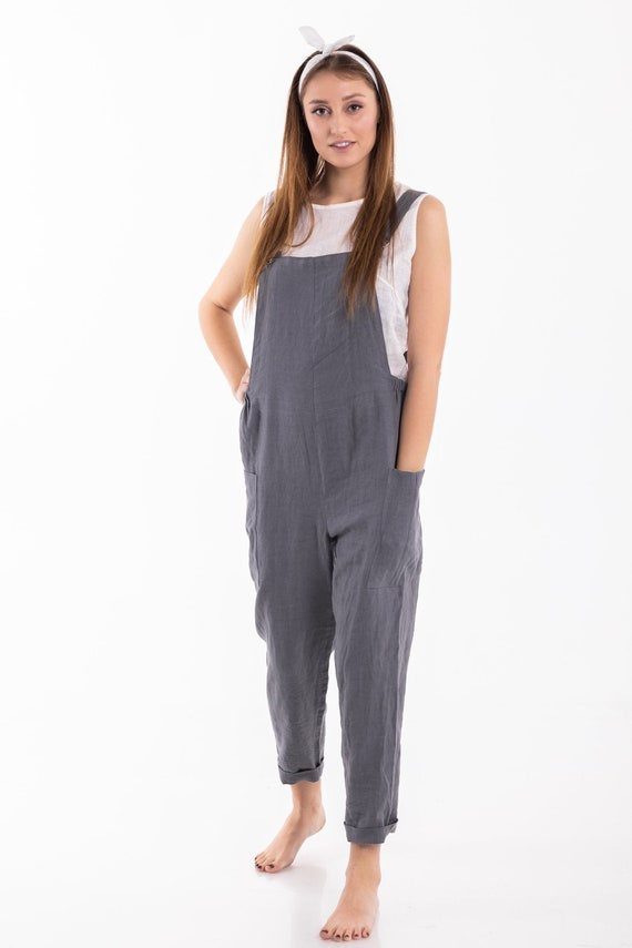 Linen overalls short Linen dungarees Linen jumpsuit Linen romper