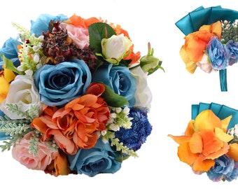 5pcs Wedding Bride Bouquet Corsage and Boutonniere Set Blue | Etsy