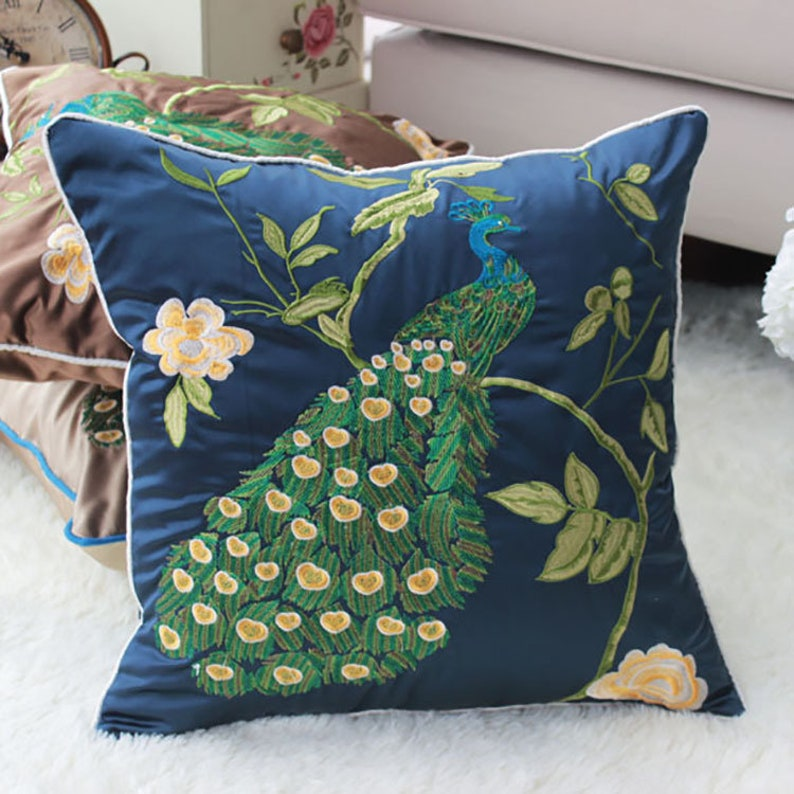 Blue Cushion Decorative Pillows Embroidered Peacock image 0