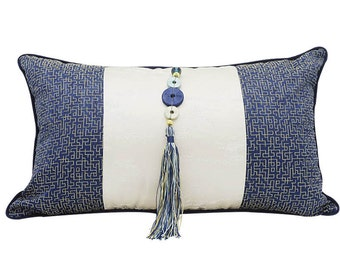 Pillow Covers Blue Lumbar Pillow Cover, Throw Pillows Throw Pillow Covers, Lumbar Pillow Silk Lumbar Pillow, Cushion Cover, Silk Cushion