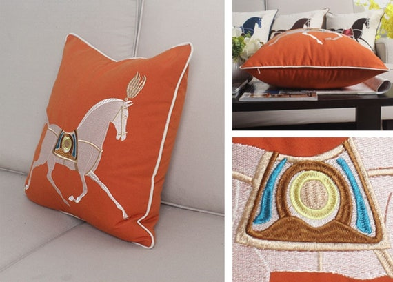 Horse Pillow Cover Couch Pillow Hermes