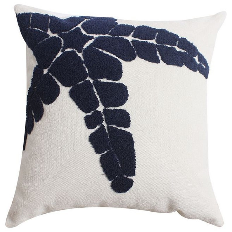 Nature Natural Embroidered pillows Cotton  Navy Blue and White  Cushion Pillow Covers Home Decorative Mediterranean Style  18 x 18in