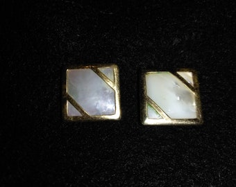 Vintage Pearlescent and Gold Square Cufflinks