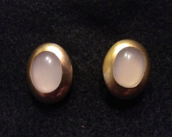 Vintage Pearlescent and Gold Cufflinks