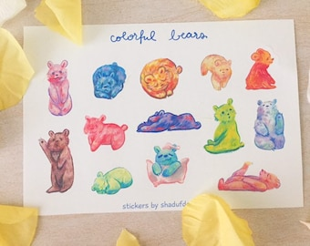 Colorful Bears Sticker Sheet   Perfect for Planners, Bullet Journal, Scrapbooking