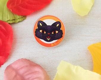 Black Cat's Meow Acrylic Pin