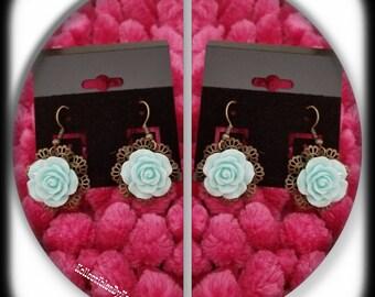 Vintage Bronze Drop Flower Earrings