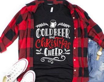 304e195422 Cold Beer and Christmas Cheer Shirt | Christmas TShirt | Funny Christmas  Shirt | Mens Christmas Shirt | Christmas Clothing | Plus Size Shirt