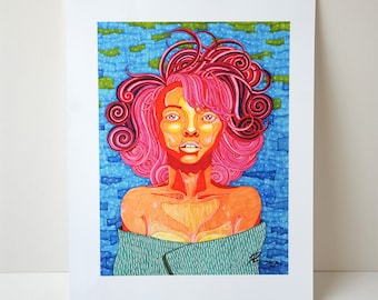 A3 Art Print. Wall Art. Illustration- Pink Haired Lady