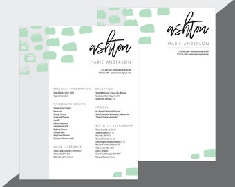 custom sorority recruitment resume and cover letter artsy mint digital download - Sorority Resume Template
