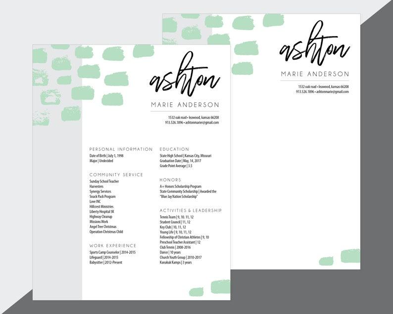 Custom Sorority Recruitment Resume and Cover Letter / Artsy | Etsy