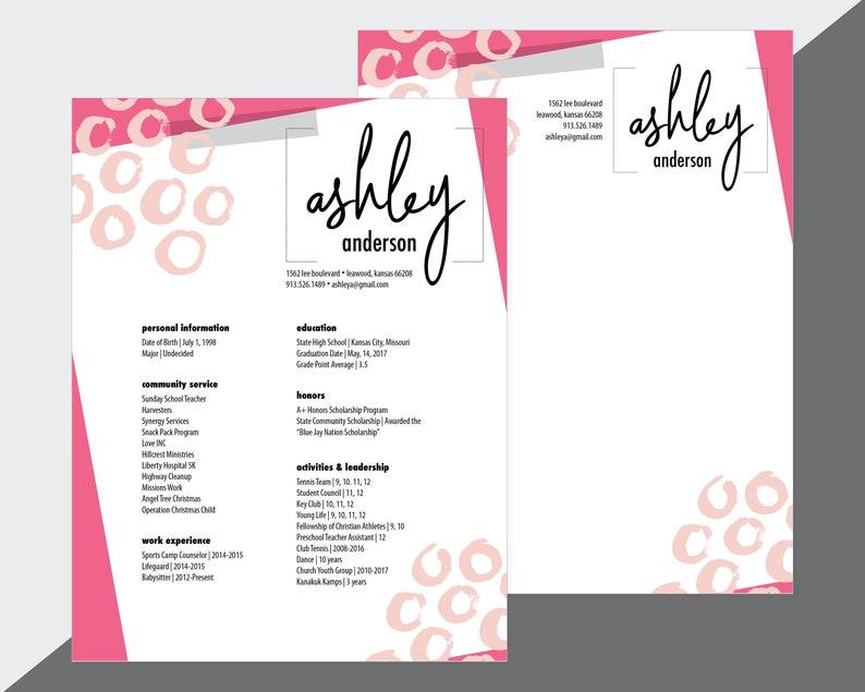 Custom Sorority Recruitment Resume and Cover Letter   Etsy