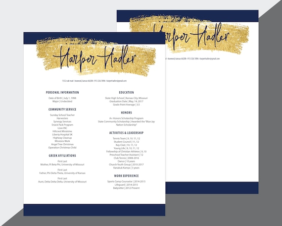 Custom Sorority Recruitment Resume and Cover Letter / Gold Navy / Digital  Download