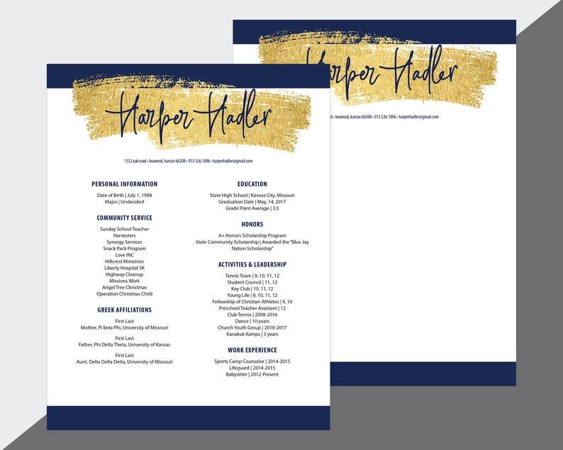 Custom Sorority Recruitment Resume and Cover Letter / Gold Navy / Digital  Download