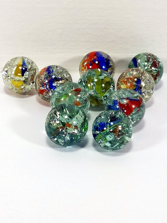 NEW 50 DRAGON 14mm GREEN RED YELLOW GLASS MARBLES TRADITIONAL COLLECTORS HOM