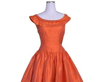 1950's raw silk party dress Size 0