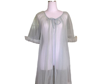 1960's textured ruffled sheer robe O/S