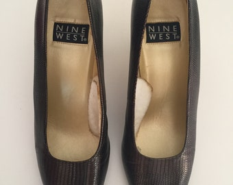 NINE WEST vintage texture snake leather brown color sz 8, 8.5