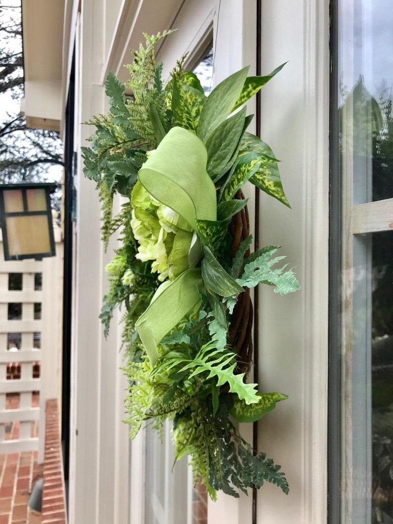 Handmade Wreath Fern Wreath Green Wreath Spring Wreath Front Door Wreath Wreath with Ribbon Year Round Wreath Natural Looking Wreath