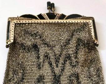 Periods & Styles Vintage Accessories Antique Art Deco Silver Frame Brown Tan Cream Enamel Chain Mail Purse W&d