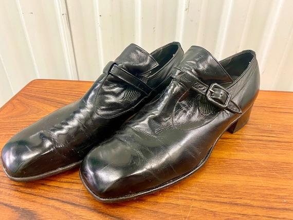 1970's Vintage Men's Black W/ Buckle High Heeled S