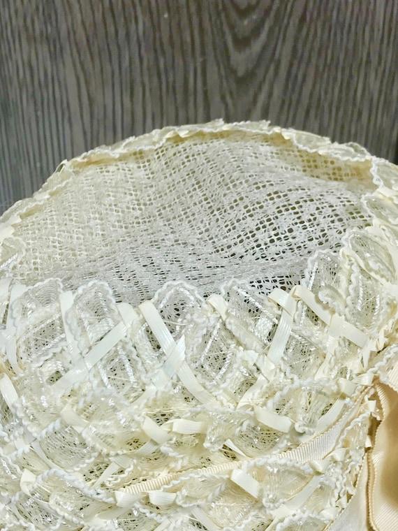 Vintage Ladies Summer Faux Layered Straw W/ Ribbo… - image 6