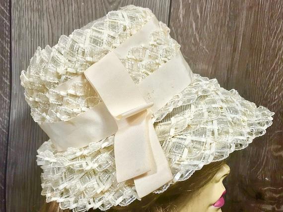Vintage Ladies Summer Faux Layered Straw W/ Ribbo… - image 3