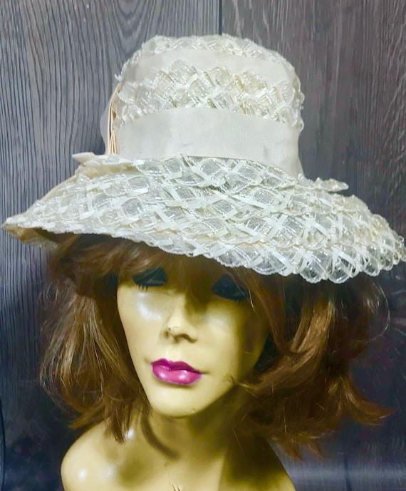 Vintage Ladies Summer Faux Layered Straw W/ Ribbo… - image 1
