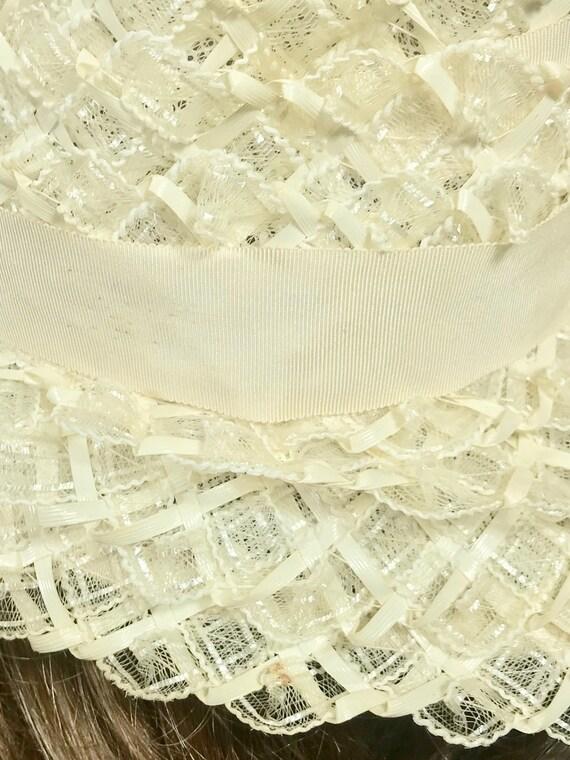 Vintage Ladies Summer Faux Layered Straw W/ Ribbo… - image 7
