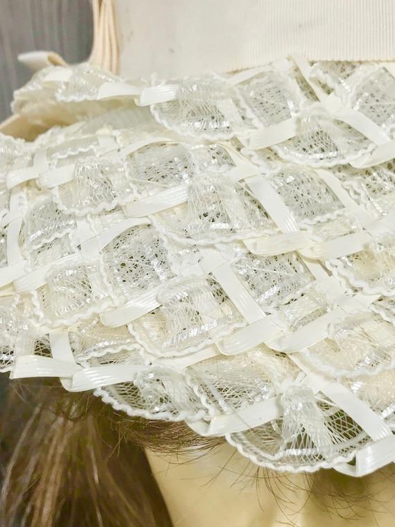 Vintage Ladies Summer Faux Layered Straw W/ Ribbo… - image 2