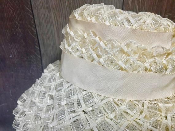 Vintage Ladies Summer Faux Layered Straw W/ Ribbo… - image 9