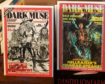 Dark Muse #1 & 2 Rare Horror Fanzine 1995 Covering Horror Comics, Fiction and Movies! Highly Collectible in Excellent Unused NM Condition.