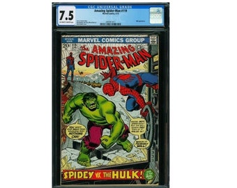 Amazing Spider-Man #119  CGC 7.5 Key Issue Spider-Man vs Hulk Pt 1 April 1973 John Romita cover. Doctor Octopus Aunt May, Green Goblin cameo