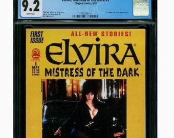 Elvira Mistress of the Dark #1 CGC graded! 9.2 Comic Book 1993 Claypool Comics. Paul Dini, James Fry, Terry Austin, Joe Duffy, Dan Spiegle