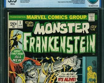 Frankenstein #1 Graded 5.5 Fine - CBCS not CGC! The Monster of Frankenstein 1973 First Edition Premiere Marvel Comics Classic Monster issue!