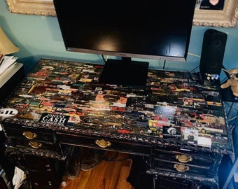 Solid Cherry Hardwood Desk Cigar Art Distressed Surface covered Cigar Brand Bands/Wrappers Preserved and protected plexus. Free 250 mi ship.