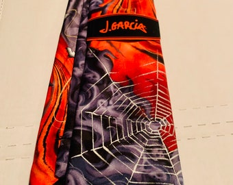 Jerry Garcia 100% Silk Halloween Neckties NWT! Vintage Rare Psychedelic Grateful Dead: Who Goes There Collection 60 Spiders webs bats ghost