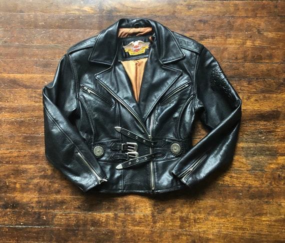 Black Leather Harley Davidson 1970s 1980s Jacket