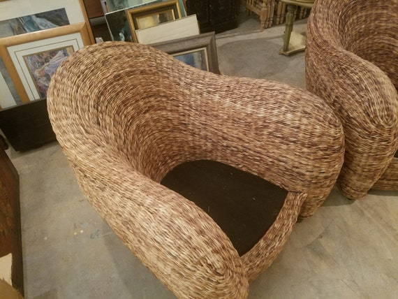 Stupendous Mid Century Rattan Atomic Rocket Lounge Chairs Alphanode Cool Chair Designs And Ideas Alphanodeonline