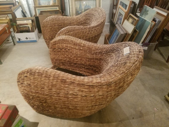 Groovy Mid Century Rattan Atomic Rocket Lounge Chairs Alphanode Cool Chair Designs And Ideas Alphanodeonline