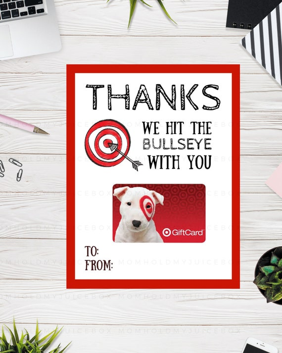 image relating to Printable Target Gift Card named Instructor Appreciation 7 days, Present Card Holder, PRINTABLE, Aim, Instructor Retirement Present, Thank on your own playing cards