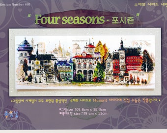 Four seasons Water Color Painting - Counted Cross Stitch Pattern