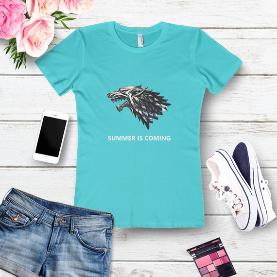8a17e44347dc Summer is coming Winter is coming Womens The Boyfriend Tee