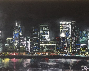 Acrylic Chicago Cityscape Painting on Stretched Canvas