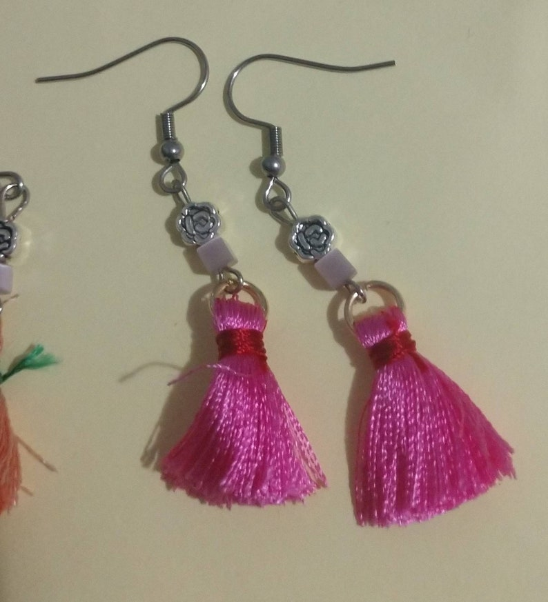Stainless Steel Earrings with Gemstone Bead Accent and Tassle Charm