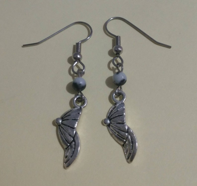 Stainless Steel Earrings with Baseball Cap Charm And Gemstone Beaded Accent