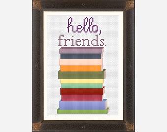 PDF Hello Friends Reading Cross Stitch Pattern